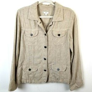 J Jill Linen Trucker Jacket Size Medium